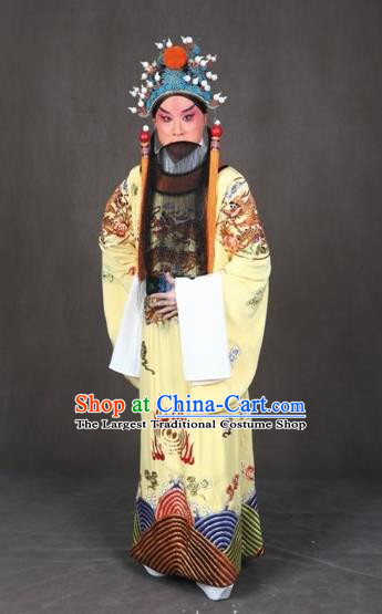 Chinese Peking Opera Old Male the Royal Consort of Tang Costumes Emperor Xuanzong Apparel Garment and Headwear