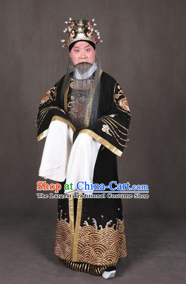 Chinese Peking Opera Old Male Garment the Royal Consort of Tang Costumes Emperor Apparel and Headwear