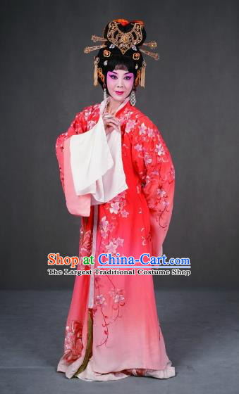 Chinese Peking Opera Garment Costumes the Royal Consort of Tang Apparel Hua Tan Diva Pink Dress and Headdress