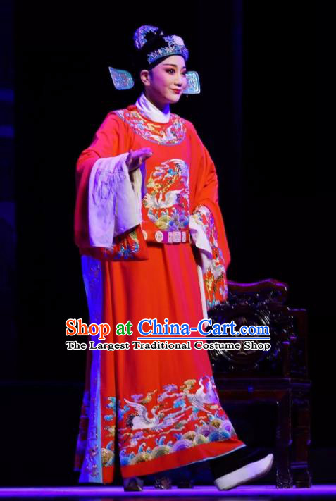 Chinese Peking Opera Niche Young Men Red Embroidered Robe Garment Double Pearl Phoenix Number One Scholar Wen Bizheng Apparel Costumes and Hat