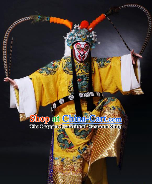 Chinese Peking Opera Garment Takefu A Monkey King Costumes Wusheng Martial Male Sun Wukong Apparel Embroidered Robe and Headwear