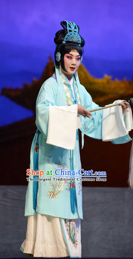 Chinese Cantonese Opera Dress Costumes Princess Chang Ping Apparel Taoist Nun Garment and Headdress