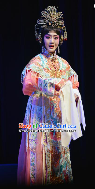 Chinese Cantonese Opera Hua Tan Dress Costumes Princess Chang Ping Apparel Peking Opera Diva Garment and Headdress