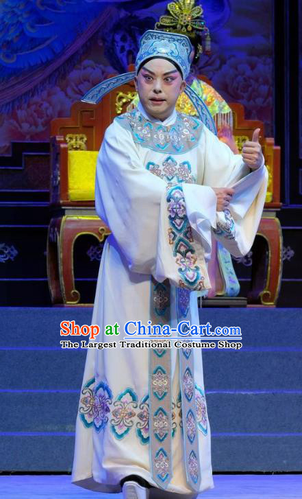 Chinese Cantonese Opera Niche Xiaosheng Garment Martial Men Princess Chang Ping Costumes Zhou Shixian Apparels and Hat