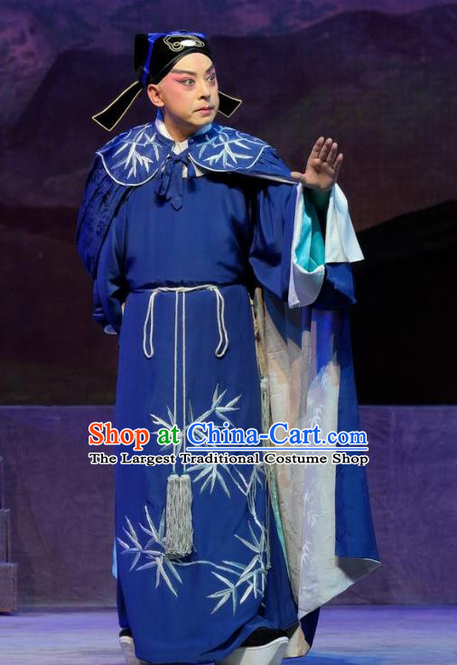 Chinese Cantonese Opera Young Men Xiaosheng Garment Princess Chang Ping Costumes Niche Zhou Shixian Blue Apparels and Hat