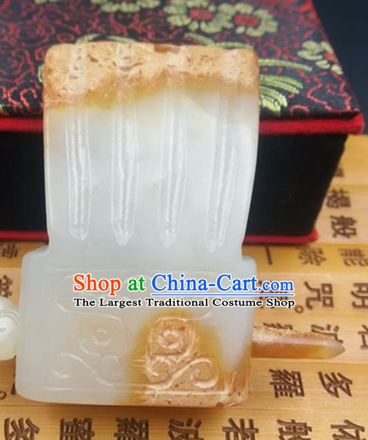 Chinese Ancient Emperor Jade Hairdo Crown Hanfu Hair Accessories Hairpin Prince Carving Jade Headwear