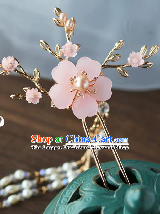 Chinese Ancient Hanfu Pearls Tassel Hair Clip Hair Accessories Women Headwear Pink Flower Hairpin