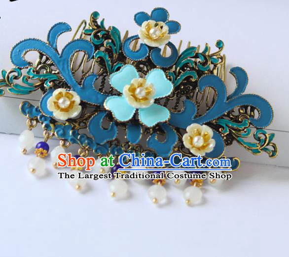 Chinese Ancient Hanfu Blue Hair Combs Hair Accessories Women Headwear Court Hairpins