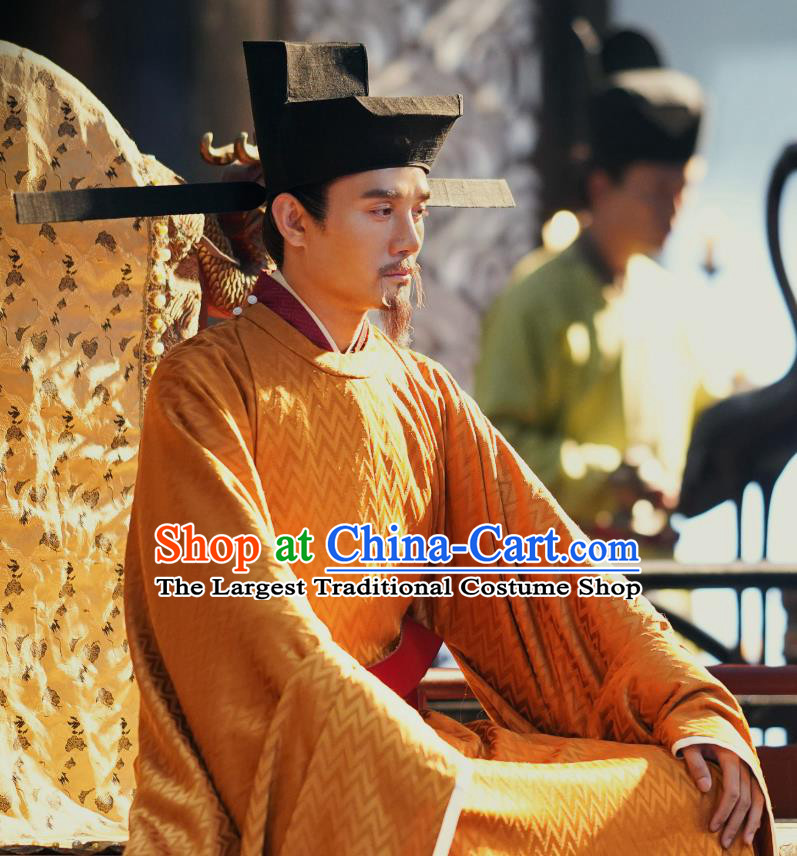 Ancient Chinese Song Dynasty Emperor Renzong Imperial Robe Historical Costumes and Headwear Drama Serenade of Peaceful Joy Wang Kai Garment