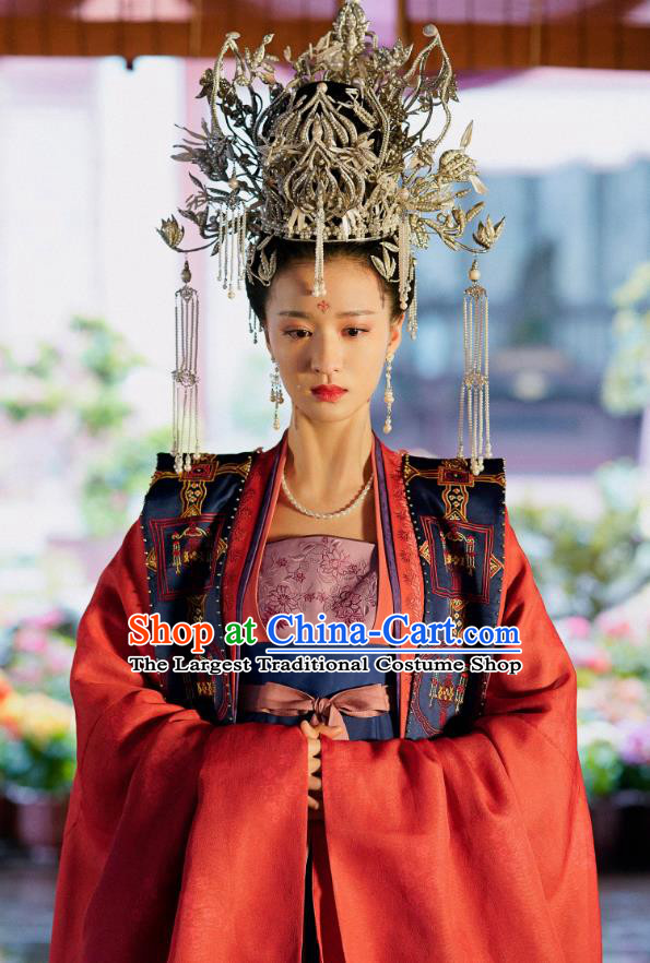 Ancient Chinese Song Dynasty Noble Consort Zhang Garment and Headpieces Drama Serenade of Peaceful Joy Zhang Bihan Apparel Historical Costumes