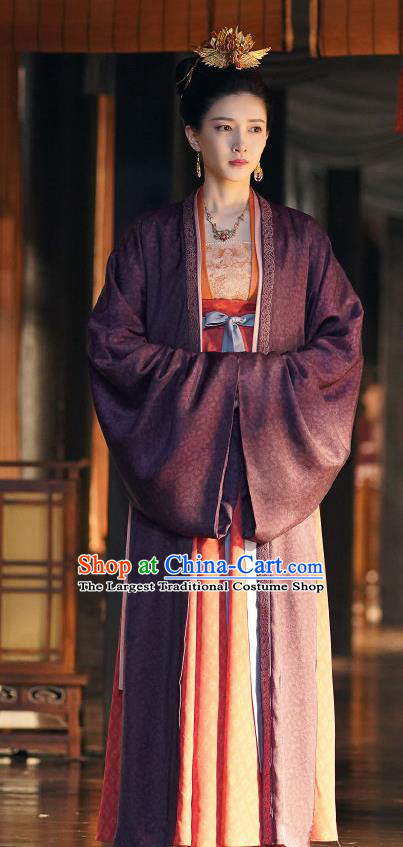 Ancient Chinese Noble Empress Apparel Garment and Headwear Drama Serenade of Peaceful Joy Song Dynasty Queen Cao Danshu Historical Costumes