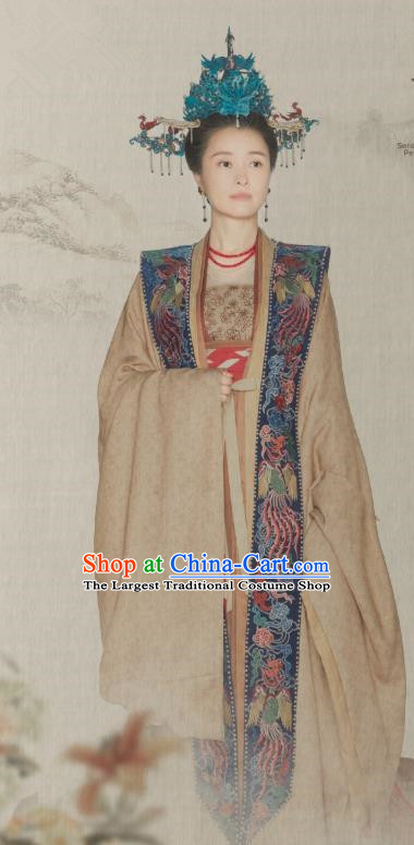 Ancient Chinese Queen Mother Historical Costumes Apparel and Headdress Drama Serenade of Peaceful Joy Song Dynasty Empress Dowager Liu E Garment