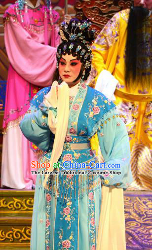 Chinese Cantonese Opera Diva Blue Dress Apparel Princess Chang Ping Peking Opera Hua Tan Garment Imperial Concubine Costumes and Headwear
