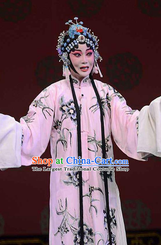 Chinese Beijing Opera Hua Tan Printing Orchid Pink Dress Apparel The Dream in Lady Chamber Peking Opera Garment Costumes and Headpieces