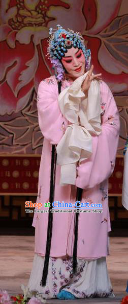 Traditional Chinese Peking Opera Hua Tan Pink Dress Apparel The Dream in Lady Chamber Garment Costumes and Headdress