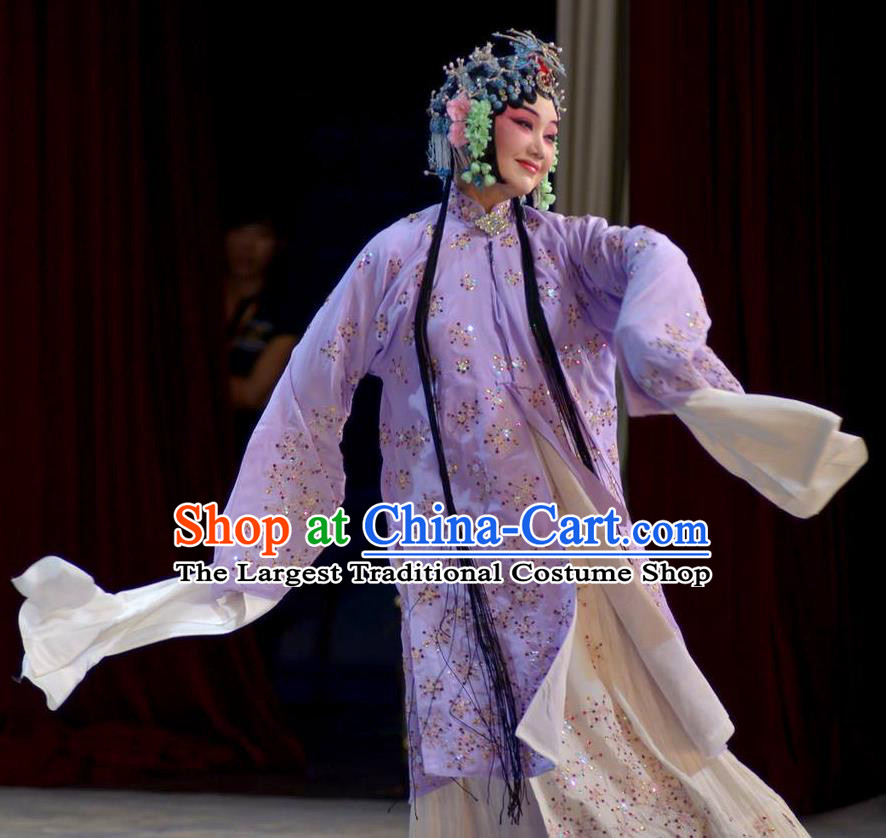 Traditional Chinese Peking Opera Diva Purple Dress Apparel The Dream in Lady Chamber Garment Rich Lady Costumes and Headdress