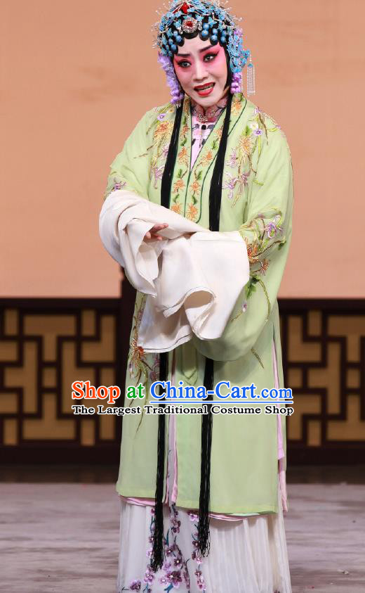 Traditional Chinese Peking Opera Young Lady Green Cape Dress Apparel The Dream in Lady Chamber Diva Costumes Garment and Headwear
