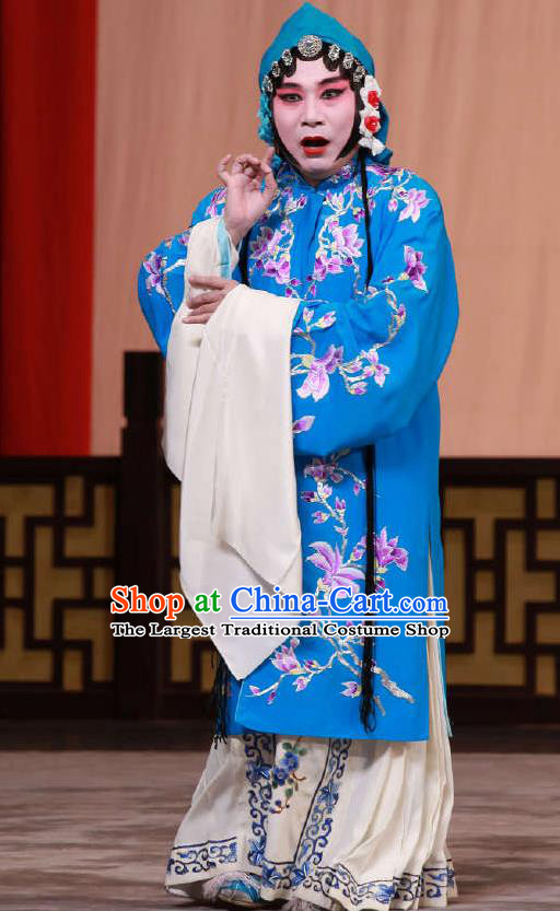 Traditional Chinese Peking Opera Blue Dress Apparel The Dream in Lady Chamber Costumes Young Female Garment and Headwear