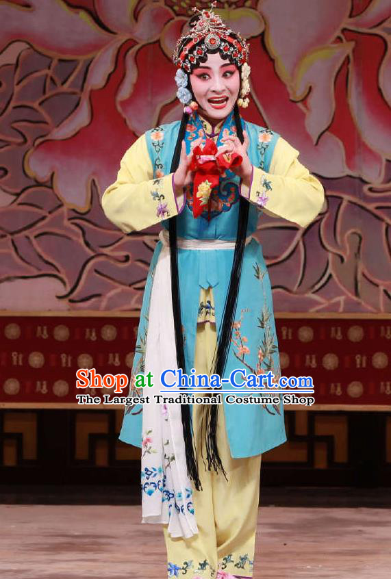 Traditional Chinese Peking Opera Maidservant Dress Apparel The Dream in Lady Chamber Costumes Young Lady Garment and Headwear