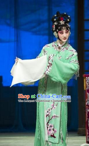 Traditional Chinese Peking Opera Rich Lady Green Dress Apparel Butterfly Fairy Tale Costumes Zhu Yingtai Garment and Headwear