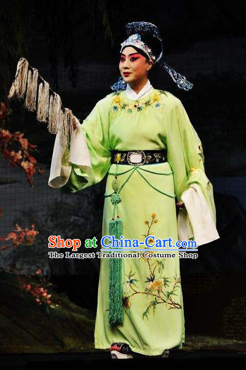 Chinese Beijing Opera Niche Xiaosheng Garment Butterfly Fairy Tale Apparels Costumes Young Men Green Robe and Hat