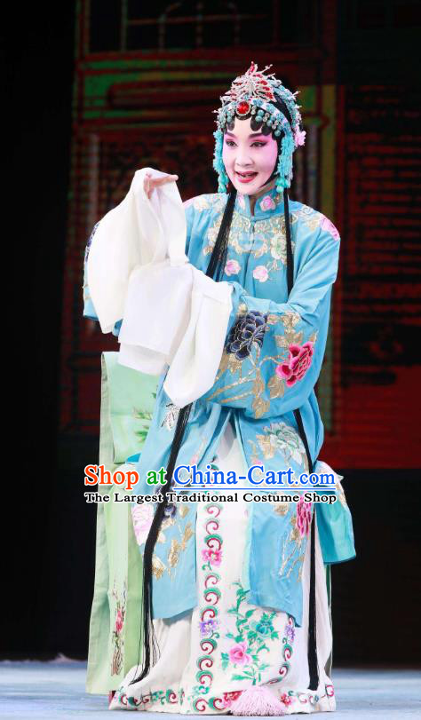 Traditional Chinese Peking Opera Female Actor Garment Dress Return of the Phoenix Hua Tan Costumes Blue Dress and Headdress