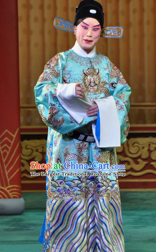 Chinese Beijing Opera Young Men Costumes Garment Peking Opera Return of the Phoenix Apparels Crown Prince Dragon Robe and Hat