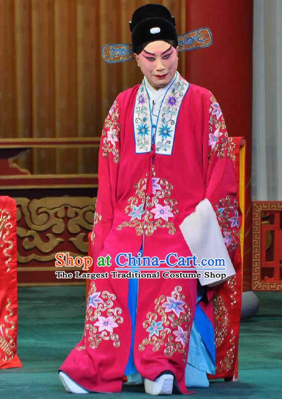 Chinese Beijing Opera Young Male Costumes Garment Peking Opera Return of the Phoenix Apparels Crown Prince Wedding Rosy Robe and Hat