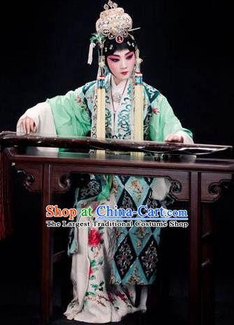 Chinese Traditional Kun Opera Jade Hairpin Young Female Costumes Peking Opera Apparel Taoist Nun Garment and Headwear