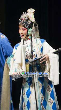 Chinese Traditional Kun Opera Taoist Nun Diva Costumes Peking Opera Jade Hairpin Apparel Hua Tan Garment and Headwear