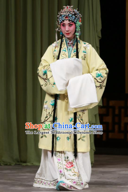 Traditional Chinese Peking Opera Diva Dress Garment Return of the Phoenix Costumes Young Female Apparels Rich Lady Yellow Cape and Headdress