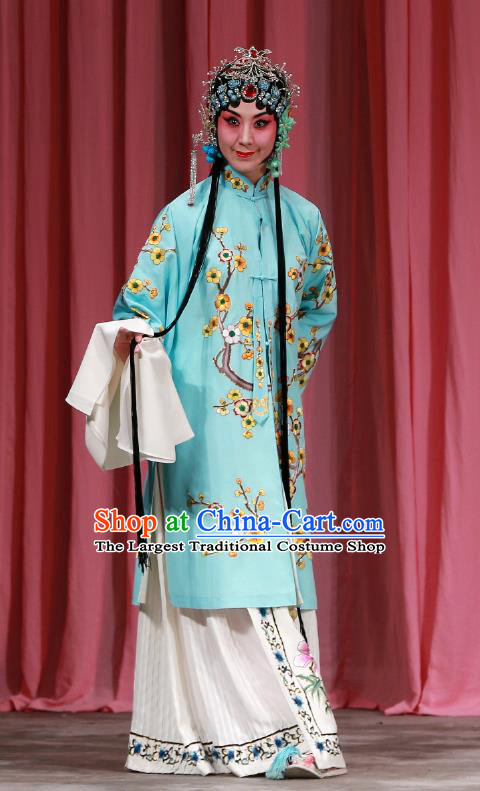 Traditional Chinese Peking Opera Diva Green Dress Garment Return of the Phoenix Costumes Apparels Rich Lady Cape and Headdress