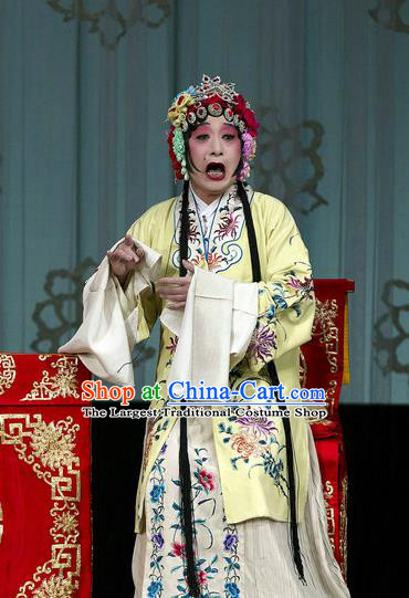 Traditional Chinese Peking Opera Ugly Female Yellow Dress Garment Return of the Phoenix Costumes and Headwear