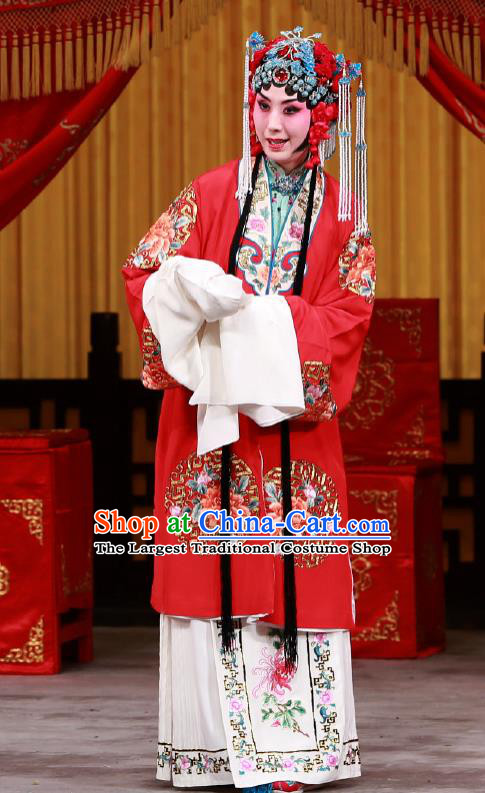 Traditional Chinese Peking Opera Diva Red Dress Garment Return of the Phoenix Costumes Apparels Rich Lady Wedding Cape and Headdress