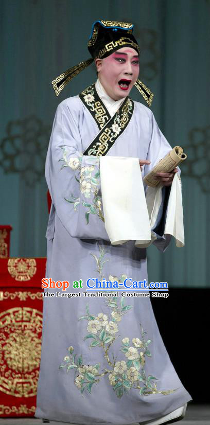 Chinese Beijing Opera Young Male Costumes Garment Peking Opera Return of the Phoenix Apparels Scholar Purple Robe and Hat