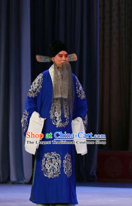 Chinese Peking Opera Costumes Garment Peking Opera Lv Bu and Diao Chan Old Men Apparels Blue Robe and Headwear