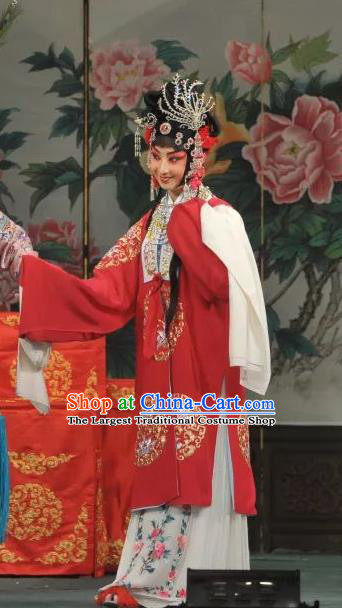 Traditional Chinese Peking Opera Rich Lady Dress Garment Costumes Apparels Lv Bu and Diao Chan Hua Tan Red Cape and Headdress