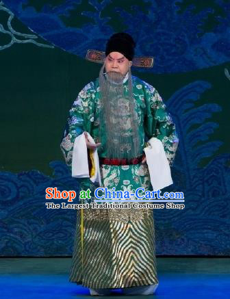 Chinese Peking Opera Official Wang Yun Costumes Garment Lv Bu and Diao Chan Elderly Male Apparels and Headwear