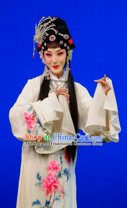 Chinese Peking Opera Hua Tan Garment Costumes Traditional Lv Bu and Diao Chan Apparels White Dress and Headpieces