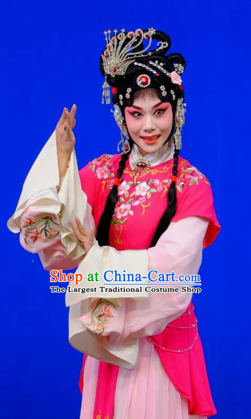 Chinese Peking Opera Rich Lady Garment Costumes Traditional Lv Bu and Diao Chan Apparels Hua Tan Rosy Dress and Headpieces