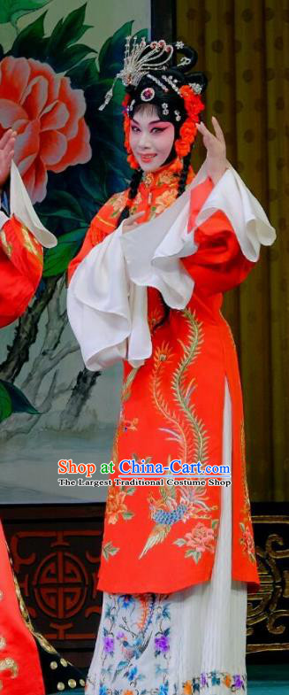Chinese Peking Opera Rich Lady Wedding Garment Costumes Traditional Lv Bu and Diao Chan Apparels Bride Red Dress and Headpieces