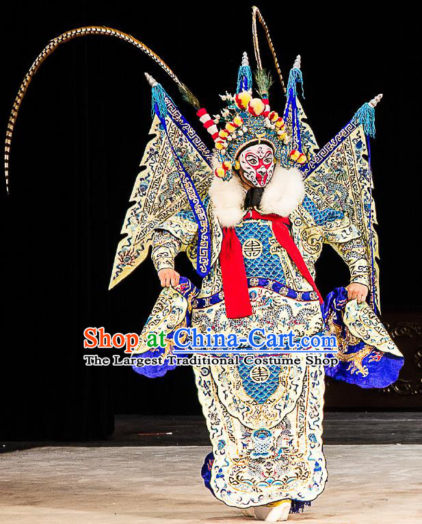 Chinese Peking Opera Sun Wukong Costumes Garment Havoc In Heaven Handsome Monkey King Kao Armor Suit with Flags Apparels and Headwear