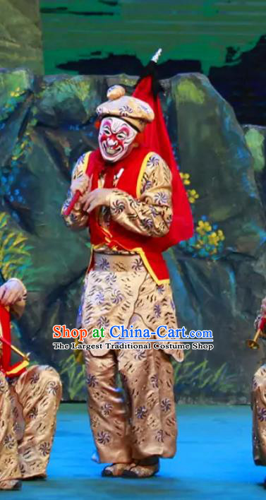Chinese Peking Opera Monkey Soldier Havoc In Heaven Costumes Apparels Wusheng Garment and Headwear Complete Set