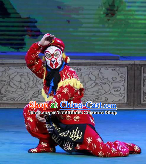 Chinese Peking Opera Martial Male Havoc In Heaven Costumes Apparels Wusheng Monkey Soldier Red Garment and Headwear
