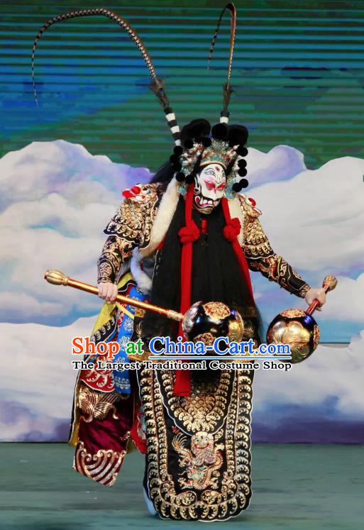 Chinese Peking Opera Havoc In Heaven General Costumes Apparels Wusheng Martial Male Garment and Headwear