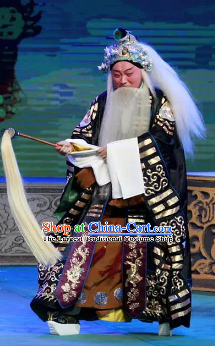 Chinese Peking Opera Havoc In Heaven Old Men Costumes Apparels Lord Lao Zi Garment and Headwear