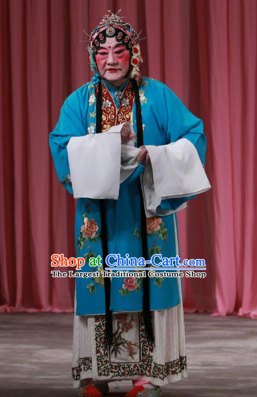 Traditional Chinese Peking Opera Female Dress Garment Return of the Phoenix Costumes Blue Apparels and Headwear