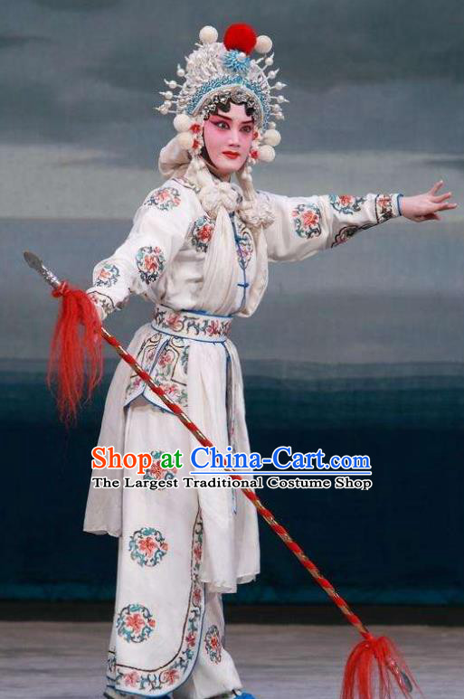 Traditional Chinese Henan Opera Legend of the White Snake Costumes Peking Opera Martial Female Apparel Wudan White Garment and Headwear