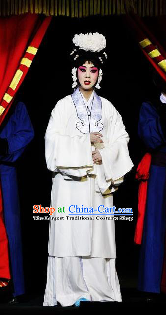 Chinese Traditional Peking Opera Diva White Dress Garment Apparel Butterfly Fairy Tale Zhu Yingtai Distress Maiden Costumes and Headwear