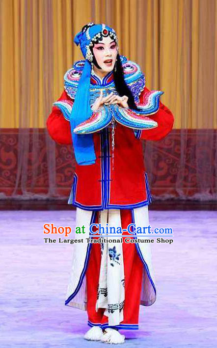 Traditional Chinese Peking Opera Susan Left Hongtong County Female Prisoner Costumes Apparel Young Lady Garment and Headwear